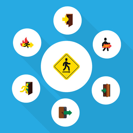 portone: Flat Icon Exit Set Of Exit, Directional, Open Door And Other Vector Objects Vettoriali