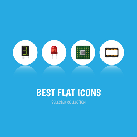 Flat Icon Device Set Of Unit, Display, Recipient And Other Vector Objects