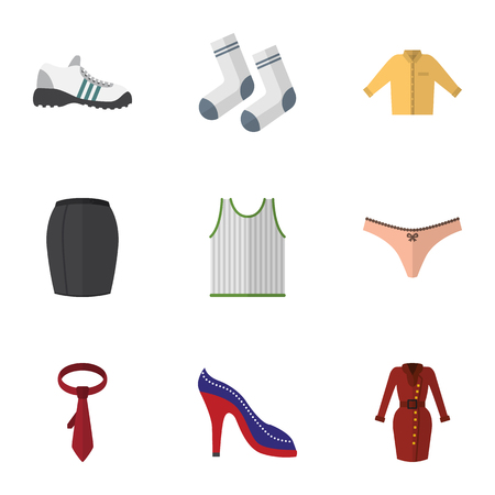 Flat Icon Dress Set Of Sneakers, Heeled Shoe, Clothes And Other Vector Objects