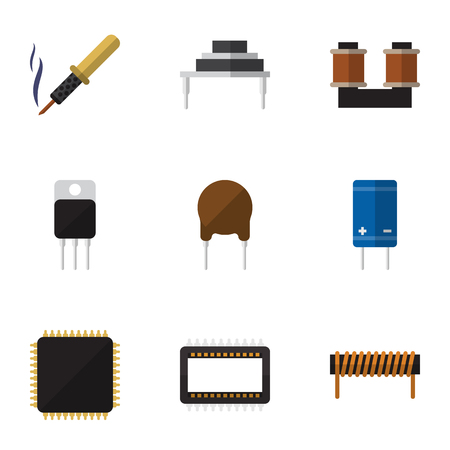 Flat Icon Technology Set Of Coil Copper, Destination, Transistor And Other Vector Objects Illustration