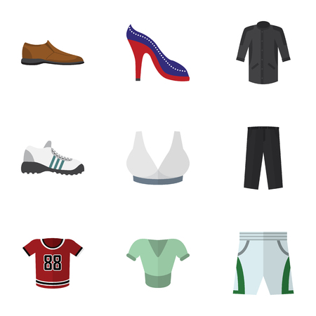 Flat Icon Clothes Set Of Brasserie, Pants, Male Footware And Other Vector Objects