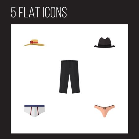 Icône plate vêtements ensemble de coiffe élégante, sous-vêtements, lingerie et autres objets vectoriels Banque d'images - 82986866