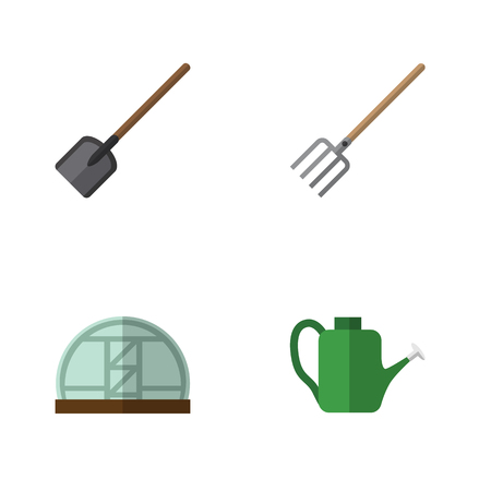 Flat Icon Dacha Set Of Shovel, Hay Fork, Hothouse And Other Vector Objects Illustration