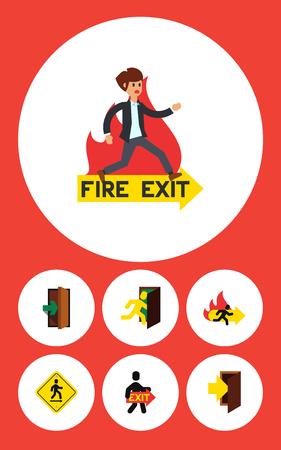 doorknob: Flat Icon Door Set Of Open Door, Exit, Fire Exit And Other Vector Objects