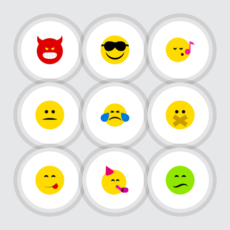 Flat Icon Emoji Set Of Party Time Emoticon, Hush, Cold Sweat And Other Vector Objects