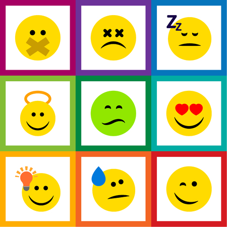 Flat Icon Face Set Of Frown, Love, Winking And Other Vector Objects Illustration