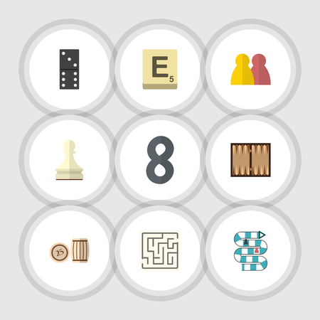 Flat Icon Play Set Of People, Dice, Labyrinth And Other Vector Objects