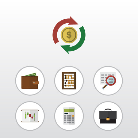 billfold: Flat Icon Gain Set Of Interchange, Billfold, Calculate And Other Vector Objects