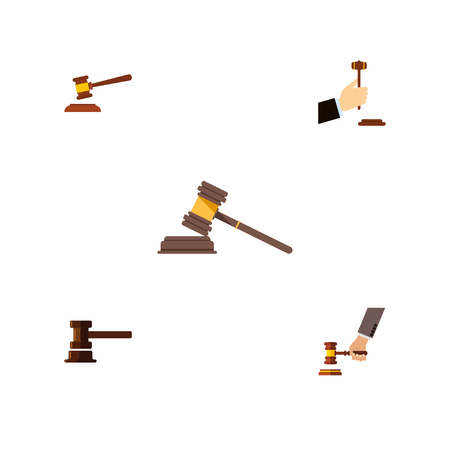Flat Icon Hammer Set Of Court, Hammer, Government Building And Other Vector Objects