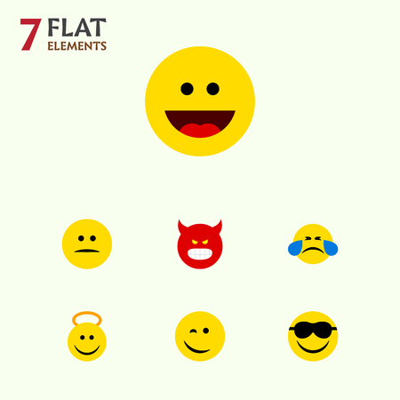 Flat Icon Face Set Of Laugh, Cold Sweat, Angel And Other Vector Objects Illustration