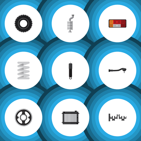 Flat Icon Component Set Of Wheel, Silencer, Input Technology And Other Vector Objects
