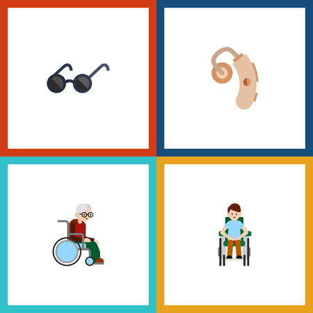 Flat Icon Handicapped Set Of Audiology, Wheelchair, Spectacles And Other Vector Objects Illustration