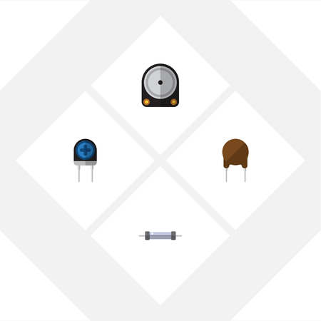 Flat Icon Technology Set Of Triode, Transducer, Hdd And Other Vector Objects Illustration