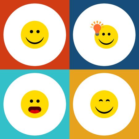 평면 아이콘 식 설정을 궁금해, 좋은 의견, 기쁨과 다른 벡터 개체가