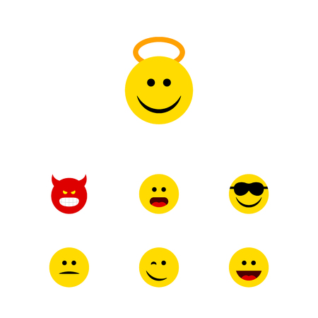 enraged: Flat Icon Face Set Of Angel, Happy, Laugh And Other Vector Objects