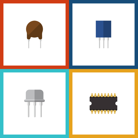 Flat Icon Technology Set Of Resist, Triode, Microprocessor And Other Vector Objects