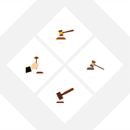 Flat Icon Hammer Set Of Court, Justice, Hammer And Other Vector Objects Illustration