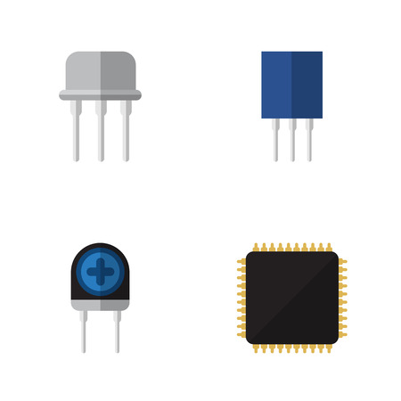 Flat Icon Electronics Set Of Transducer, Cpu, Resist And Other Vector Objects Illustration