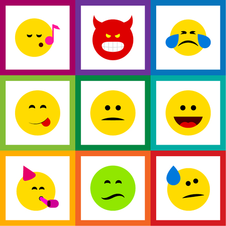 Flat Icon Gesture Set Of Pouting, Frown, Laugh And Other Vector Objects Ilustrace