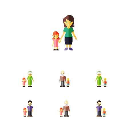 ancestor: Flat Icon People Set Of Daugther, Father, Grandpa Vector Objects Illustration