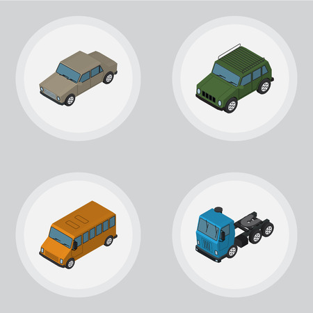 Isometric Automobile Set Of Armored, Autobus, Auto And Other Vector Objects