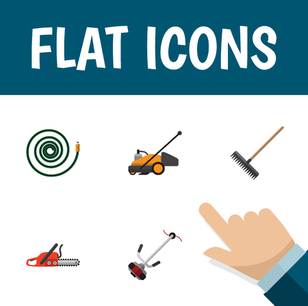 hosepipe: Flat Icon Dacha Set Of Hosepipe, Hacksaw, Lawn Mower And Other Vector Objects Illustration