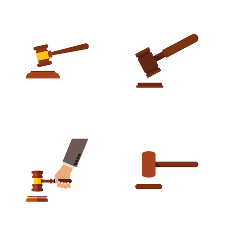 Flat Icon Lawyer Set Of Hammer, Defense, Justice And Other Vector Objects Illustration