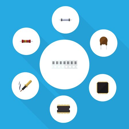 Flat Icon Technology Set Of Repair, Resistor, Cpu And Other Vector Objects