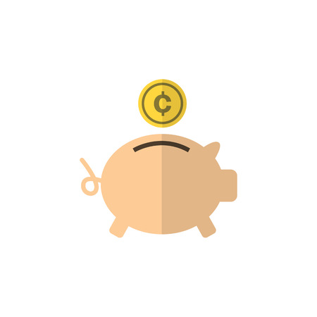 Money Box Vector Element Can Be Used For Money, Box, Bank Design Concept.  Isolated Piggy Bank Flat Icon.