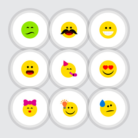 Flat Icon Gesture Set Of Cheerful, Party Time Emoticon, Caress And Other Vector Objects