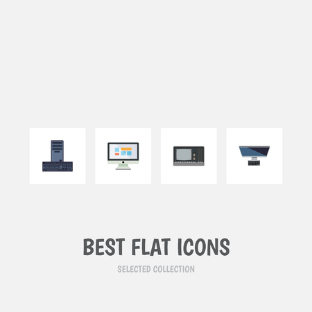 computerized: Flat Icon Laptop Set Of PC, Vintage Hardware, Processor And Other Vector Objects