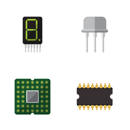 Flat Icon Technology Set Of Display, Resist, Microprocessor And Other Vector Objects