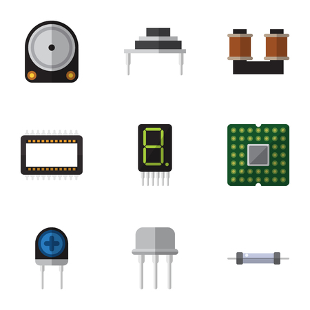 Flat Icon Technology Set Of Resistor, Unit, Destination And Other Vector Objects