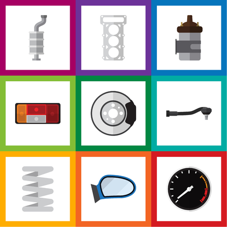 axles: Flat Icon Auto Set Of Input Technology, Metal, Auto Component And Other Vector Objects