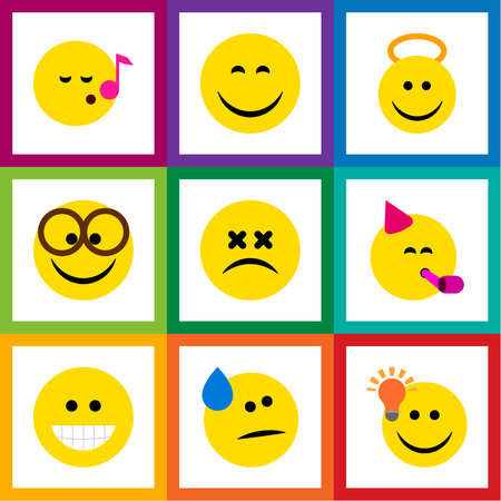 Flat Icon Expression Set Of Grin, Cross-Eyed Face, Descant And Other Vector Objects