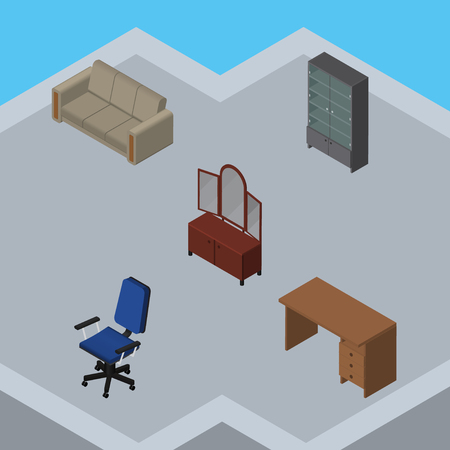 Isometric Furniture Set Of Couch, Sideboard, Drawer And Other Vector Objects