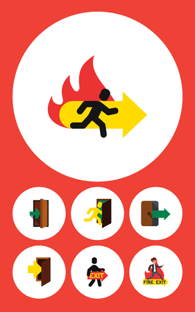 doorknob: Flat Icon Emergency Set Of Emergency, Entrance, Fire Exit And Other Vector Objects