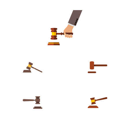 Flat Icon Court Set Of Court, Legal, Crime And Other Vector Objects