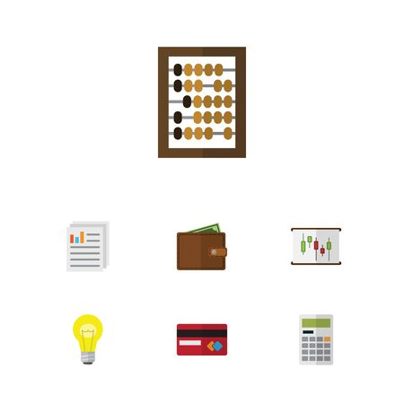 Flat Icon Finance Set Of Counter, Payment, Calculate And Other Vector Objects