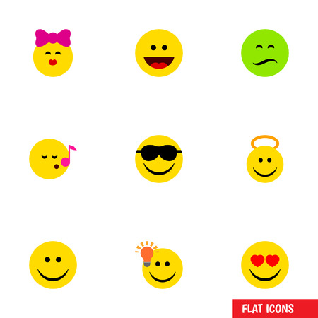 Flat Icon Face Set Of Love, Laugh, Caress And Other Vector Objects Illustration