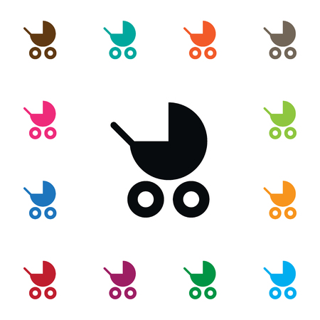 Buggy Vector Element Can Be Used For Buggy, Pram, Stroller Design Concept.  Isolated Pram Icon.
