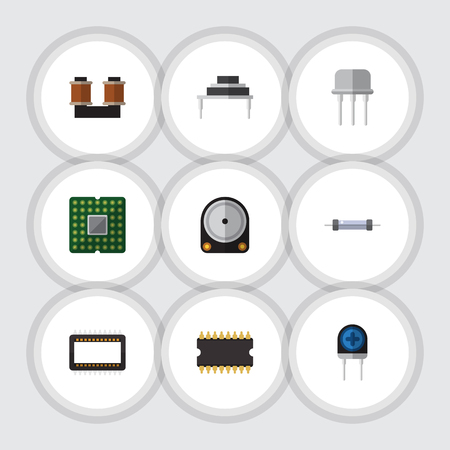 Flat Icon Technology Set Of Coil Copper, Hdd, Resistor And Other Vector Objects Illustration