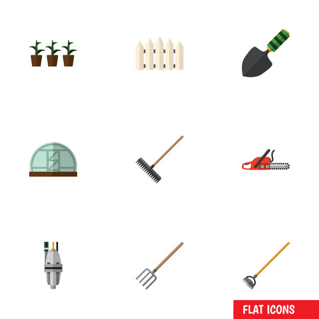 Flat Icon Dacha Set Of Wooden Barrier, Flowerpot, Pump And Other Vector Objects