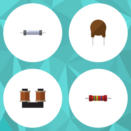 Flat Icon Technology Set Of Resistor, Coil Copper, Resistance And Other Vector Objects