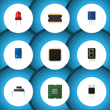 Flat Icon Device Set Of Recipient, Microprocessor, Cpu And Other Vector Objects
