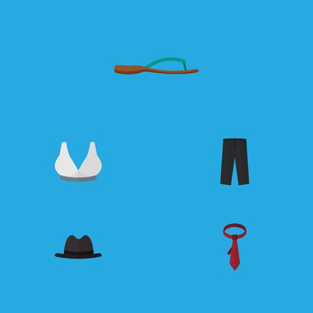 Flat Icon Garment Set Of Beach Sandal, Panama, Brasserie Vector Objects Stok Fotoğraf - 83069114