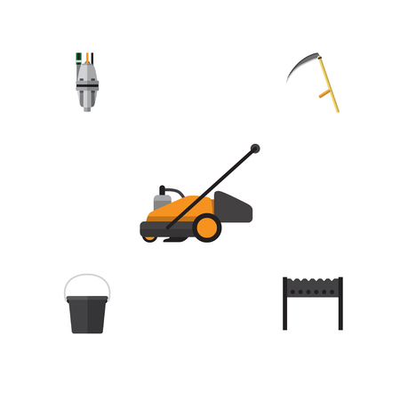 Flat Icon Farm Set Of Pail, Pump, Lawn Mower And Other Vector Objects Illustration