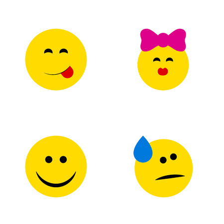 quandary: Flat Icon Face Set Of Tears, Caress, Joy And Other Vector Objects