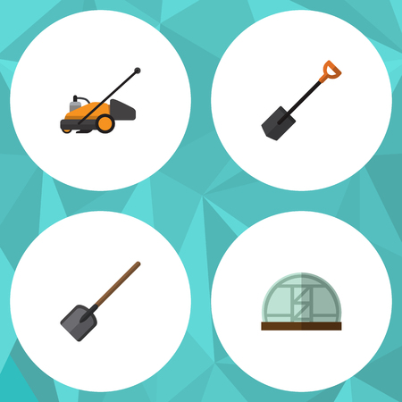 Flat Icon Garden Set Of Lawn Mower, Shovel, Hothouse And Other Vector Objects