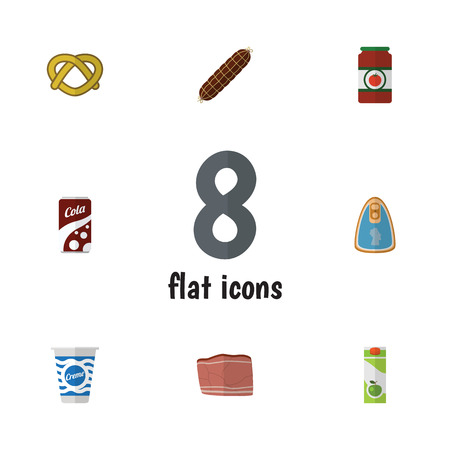 Flat Icon Food Set Of Beef, Cookie, Canned Chicken And Other Vector Objects Illustration